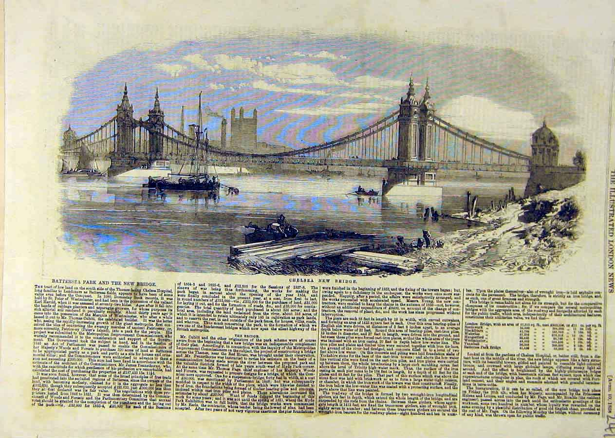 Print Chelsea New-Bridge River Battersea London 1858 41Ccc0 Old Original