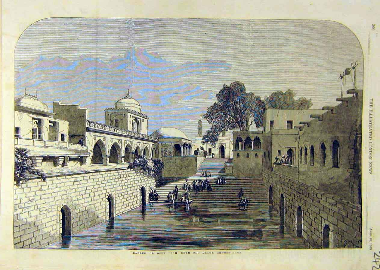 Print Baolee Open-Bath Old-Delhi India Indian 1858 42Ccc0 Old Original