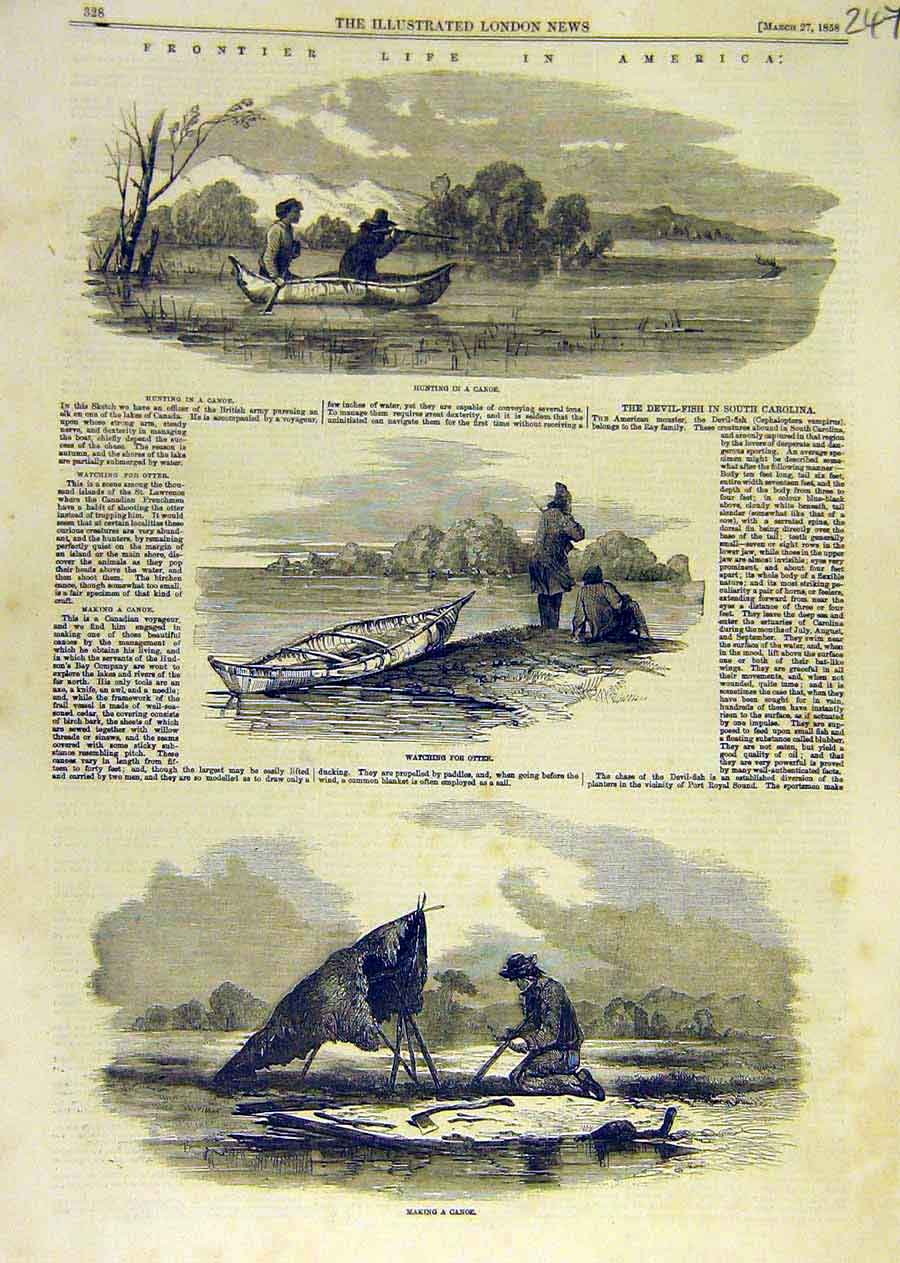 Print Frontier Life America Hunting Canoe Otter 1858 47Ccc0 Old Original