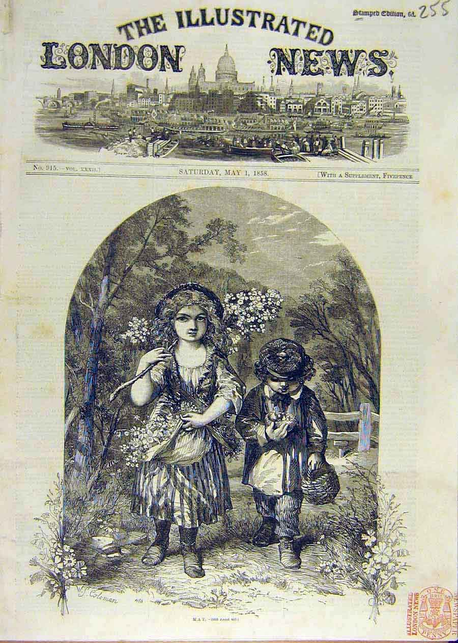 Print May Children Sketch Boy Girl Flowers Spring 1858 55Ccc0 Old Original