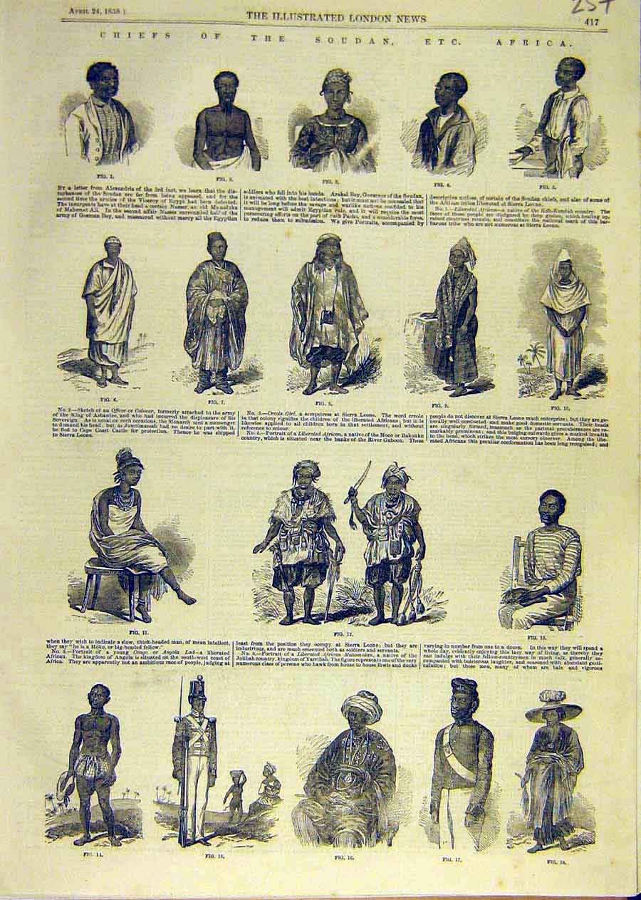Print Chief Portraits Soudan Africa Natives 1858 57Ccc0 Old Original