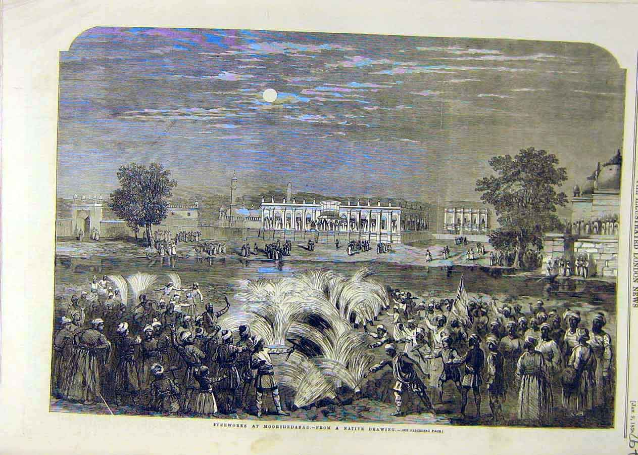 Print Fireworks Moorshedabad Native Sketch Building 1858 67Ccc0 Old Original