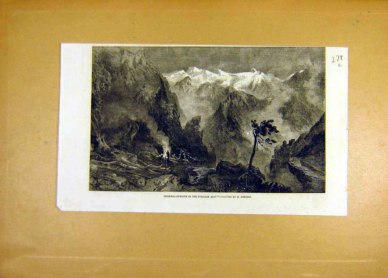 Print Charcoal-Burning Tyrolese Alps Johnson Fine Art 1858 72Lccc0 Old Original