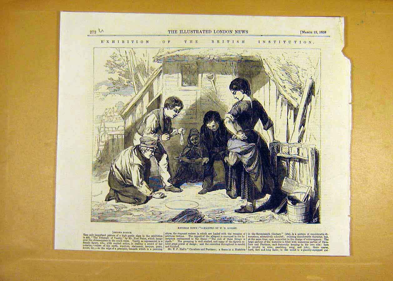 Print Knuckle-Down Knight Fine Art 1858 Games Sport 72Uccc0 Old Original