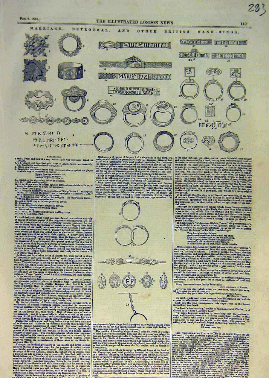 Print Marriage Betrothal Hand-Rings Jewellery 1858 83Ccc0 Old Original