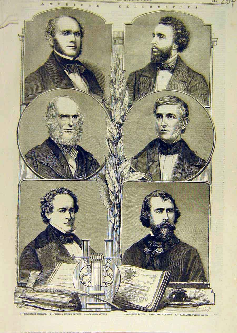Print American Halleck Bryant Taylor Bancroft Willis 1858 84Ccc0 Old Original