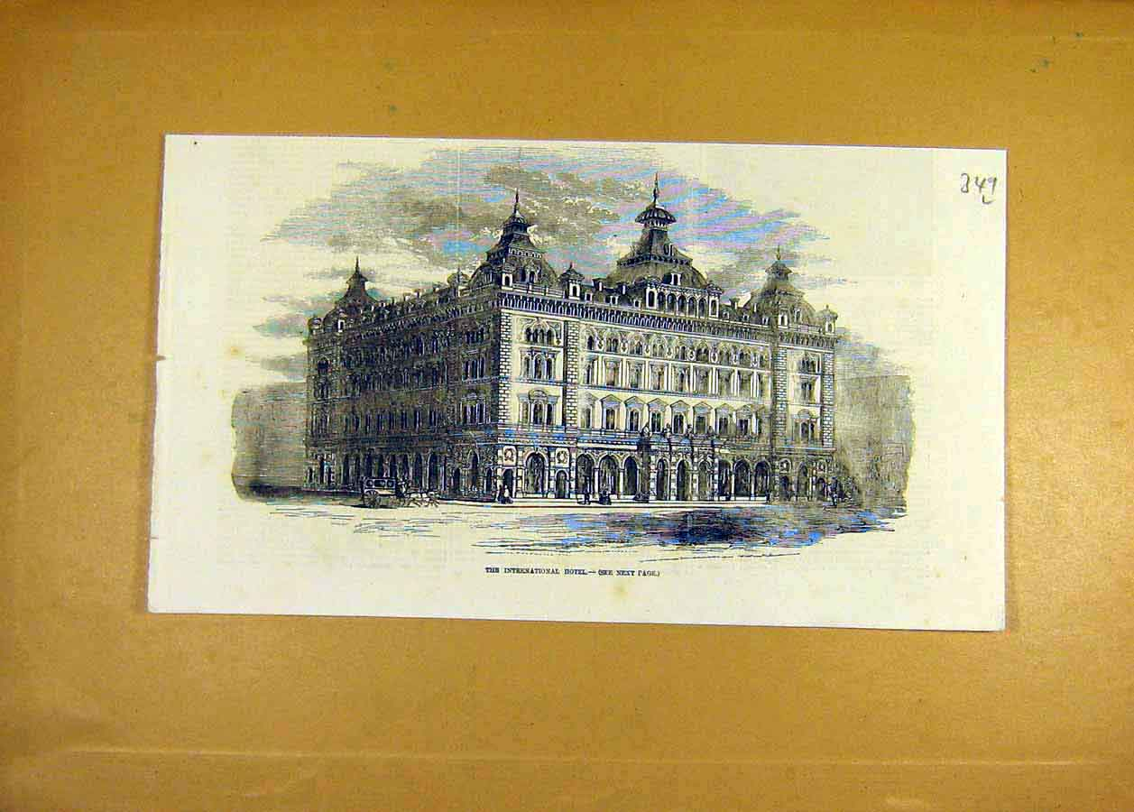 Print International Hotel Building Architecture 1858 49Lccc0 Old Original