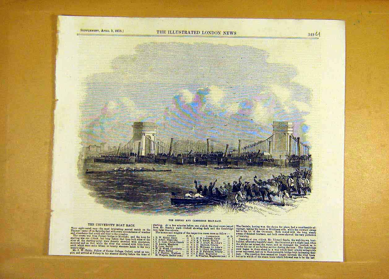 Print Oxford Cambridge Boat-Race Thames River 1858 49Uccc0 Old Original