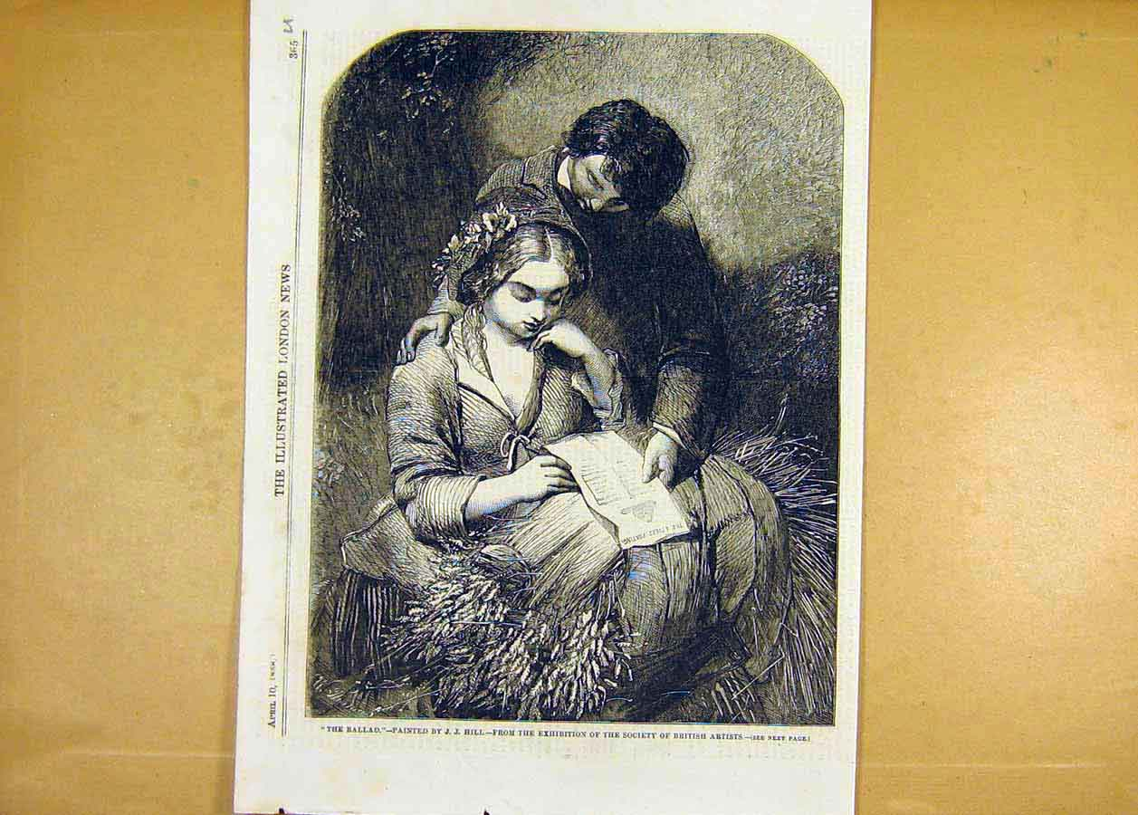Print Ballad Hill Lovers Fine Art 1858 Painting 65Uccc0 Old Original