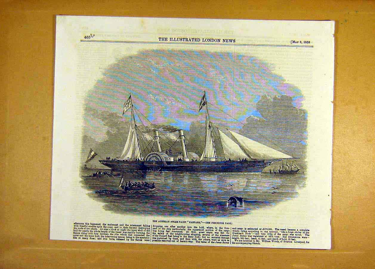 Print Austrian Steam-Yacht Fantasie Ship Boat 1858 60Uccc0 Old Original