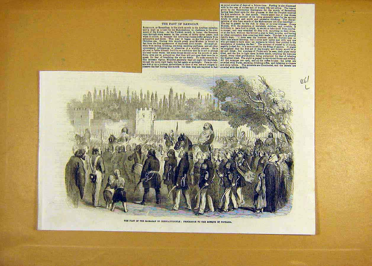 Print Ramazan Constantinople Procession Mosque Tophana 1858 61Lccc0 Old Original