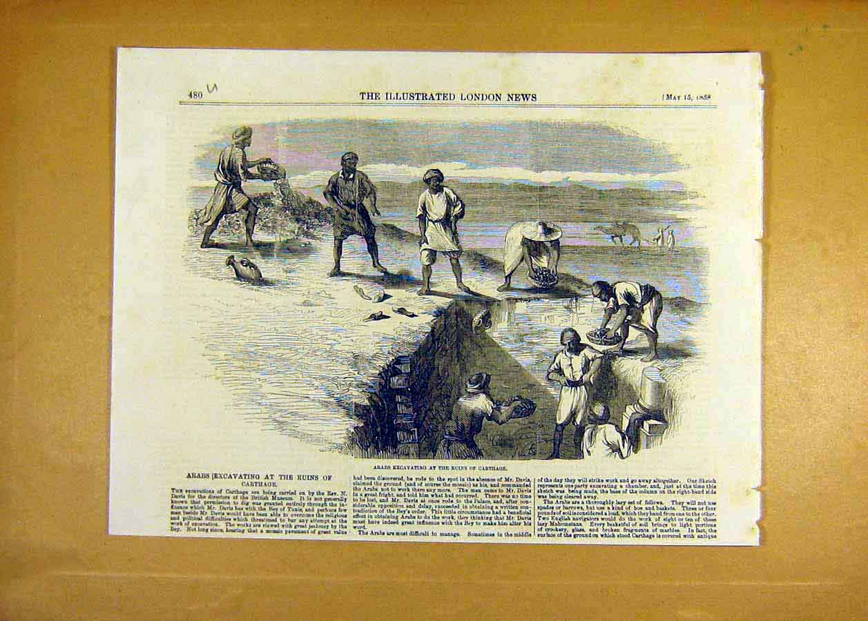 Print Arab Excavation Ruins Carthage Egypt 1858 Africa 80Uccc0 Old Original