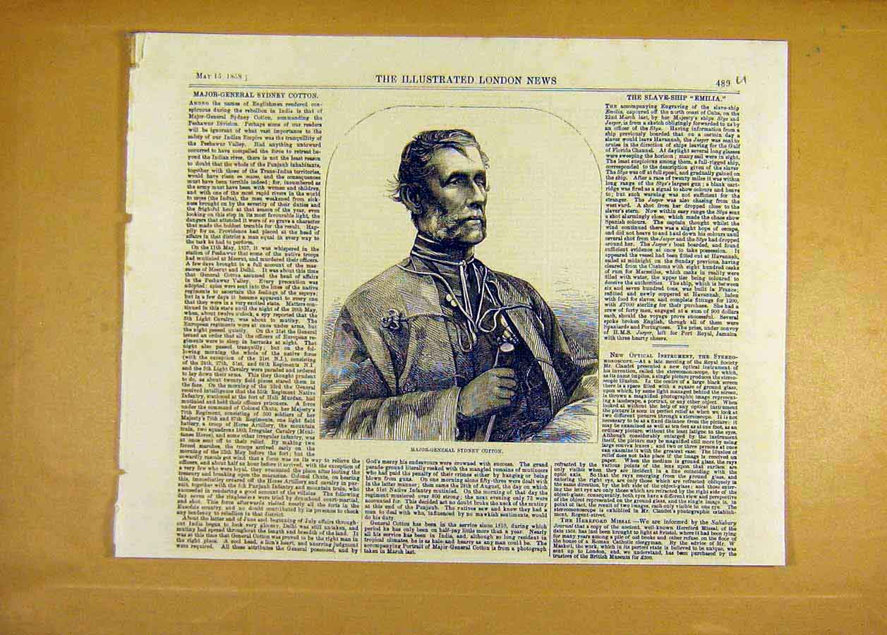 Print Portrait Major-General Sydney Cotton 1858 89Uccc0 Old Original