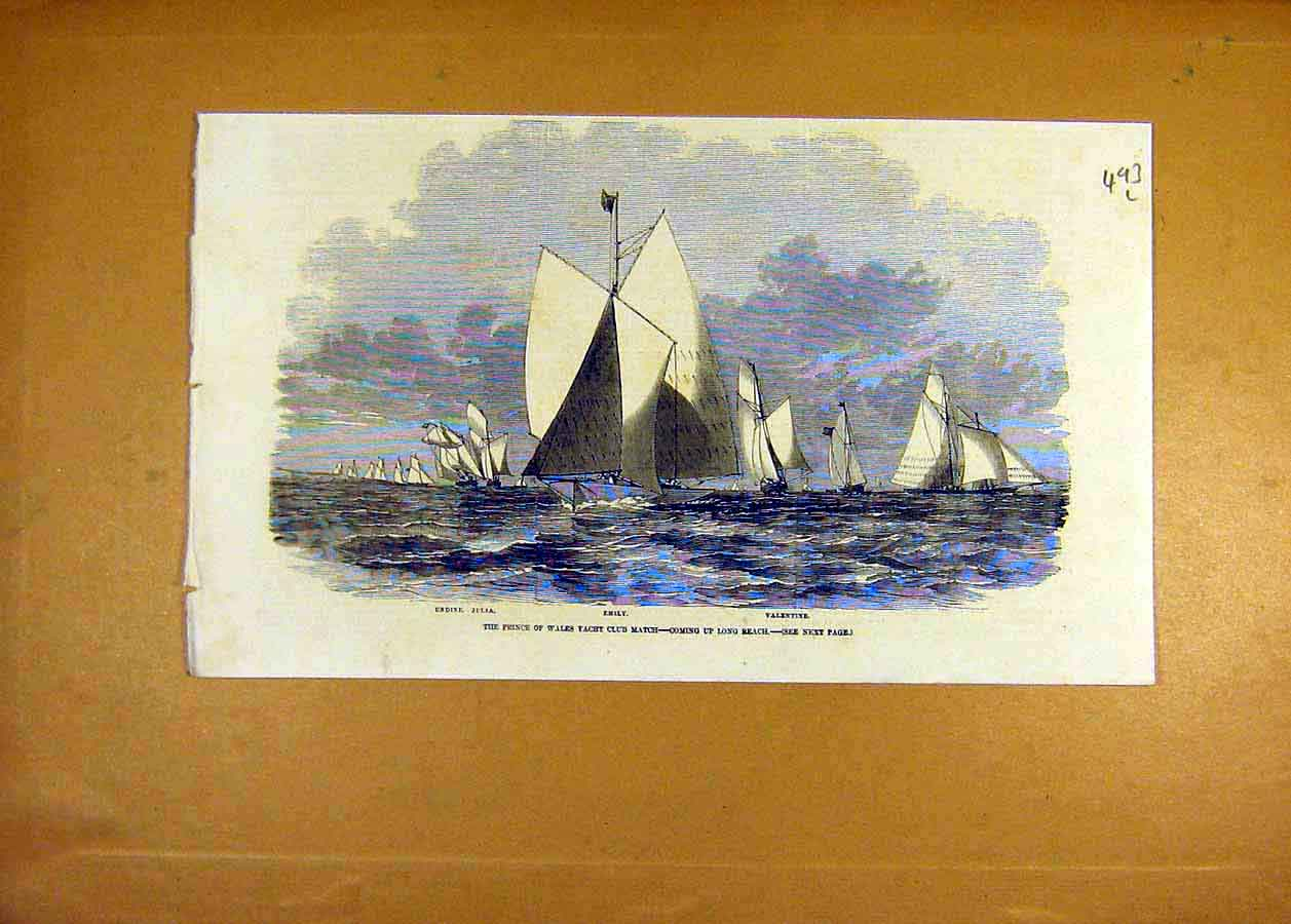 Print Prince Wales Yacht Emily Valentine Undine-Julia 1858 93Lccc0 Old Original