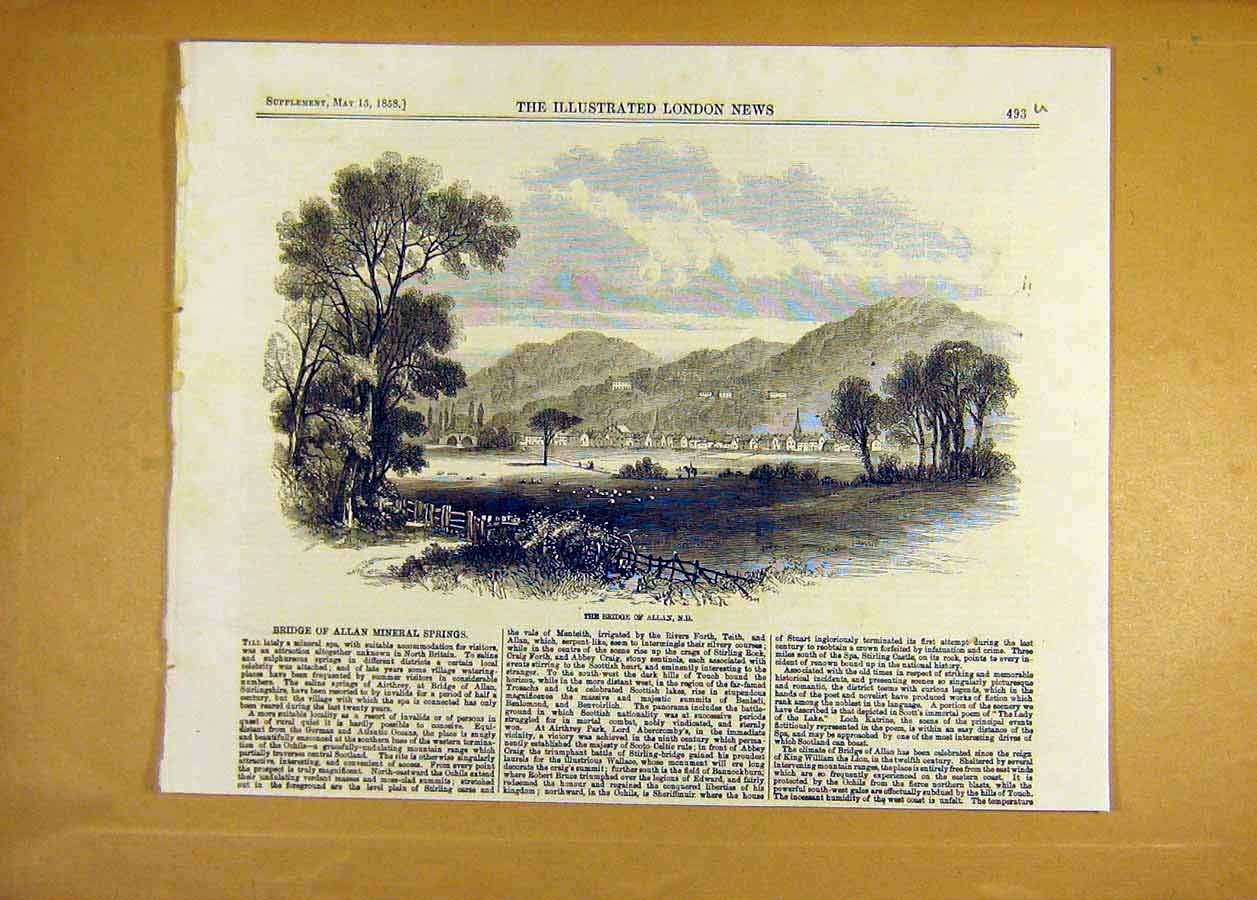 Print Bridge Allan Mineral Springs View Landscape 1858 93Uccc0 Old Original