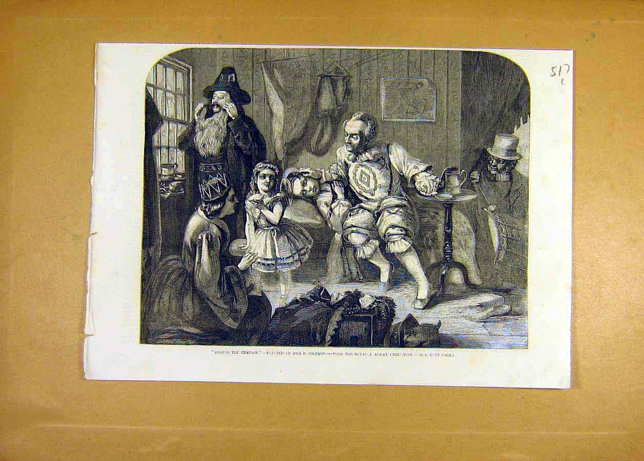 Print Behind-Curtain Solomon Exhibition Fine Art 1858 17Lccc0 Old Original