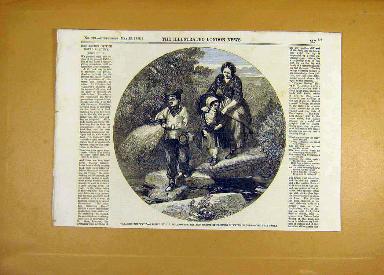 Print Leading-The-Way Mole Children River Fine Art 1858 17Uccc0 Old Original