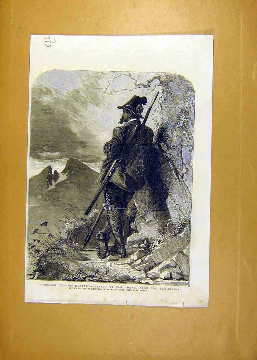 Print Tyrolese Chamois-Hunter Haag Exhibition Fine Art 1858 33Lccc0 Old Original