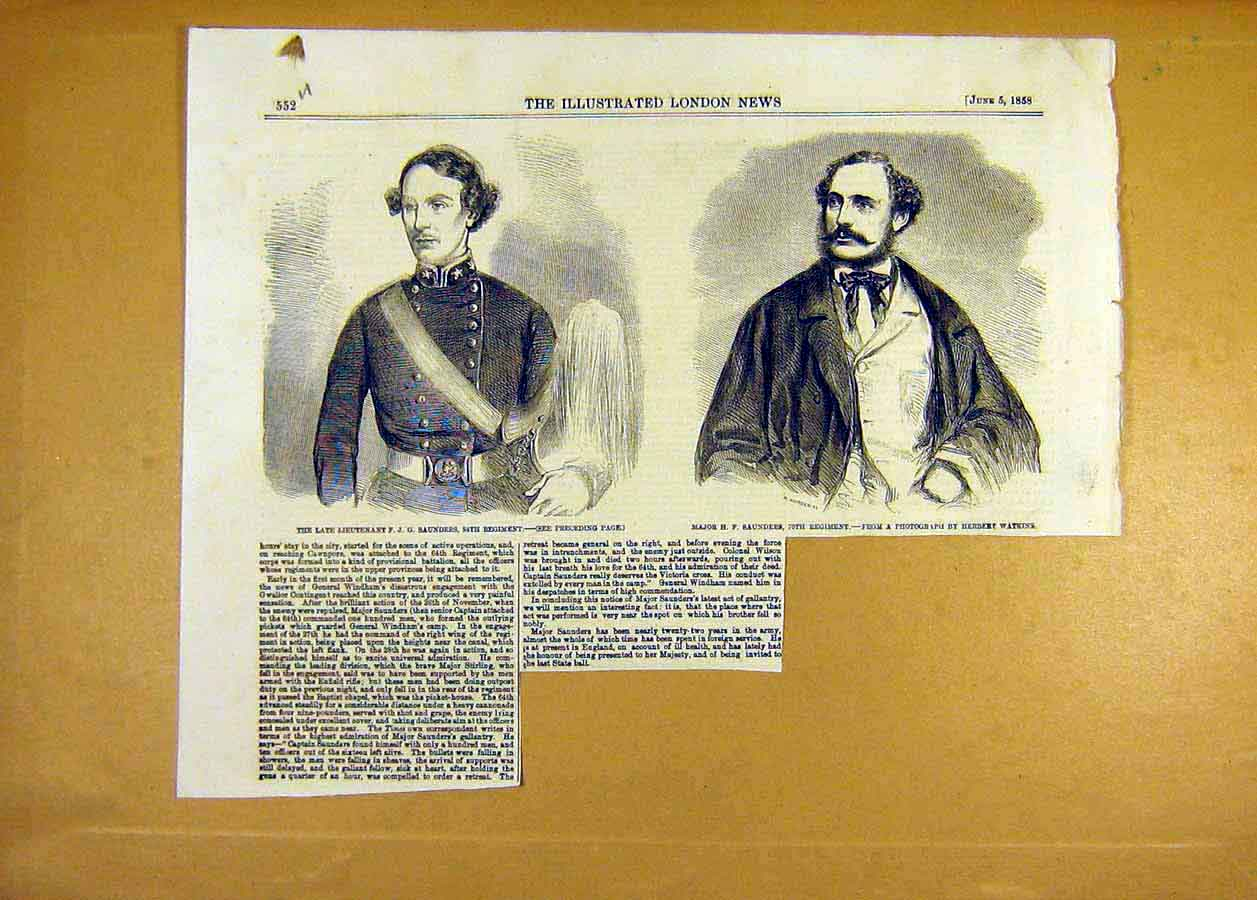 Print Portrait Saunders Lieutenant Major Military 1858 52Uccc0 Old Original