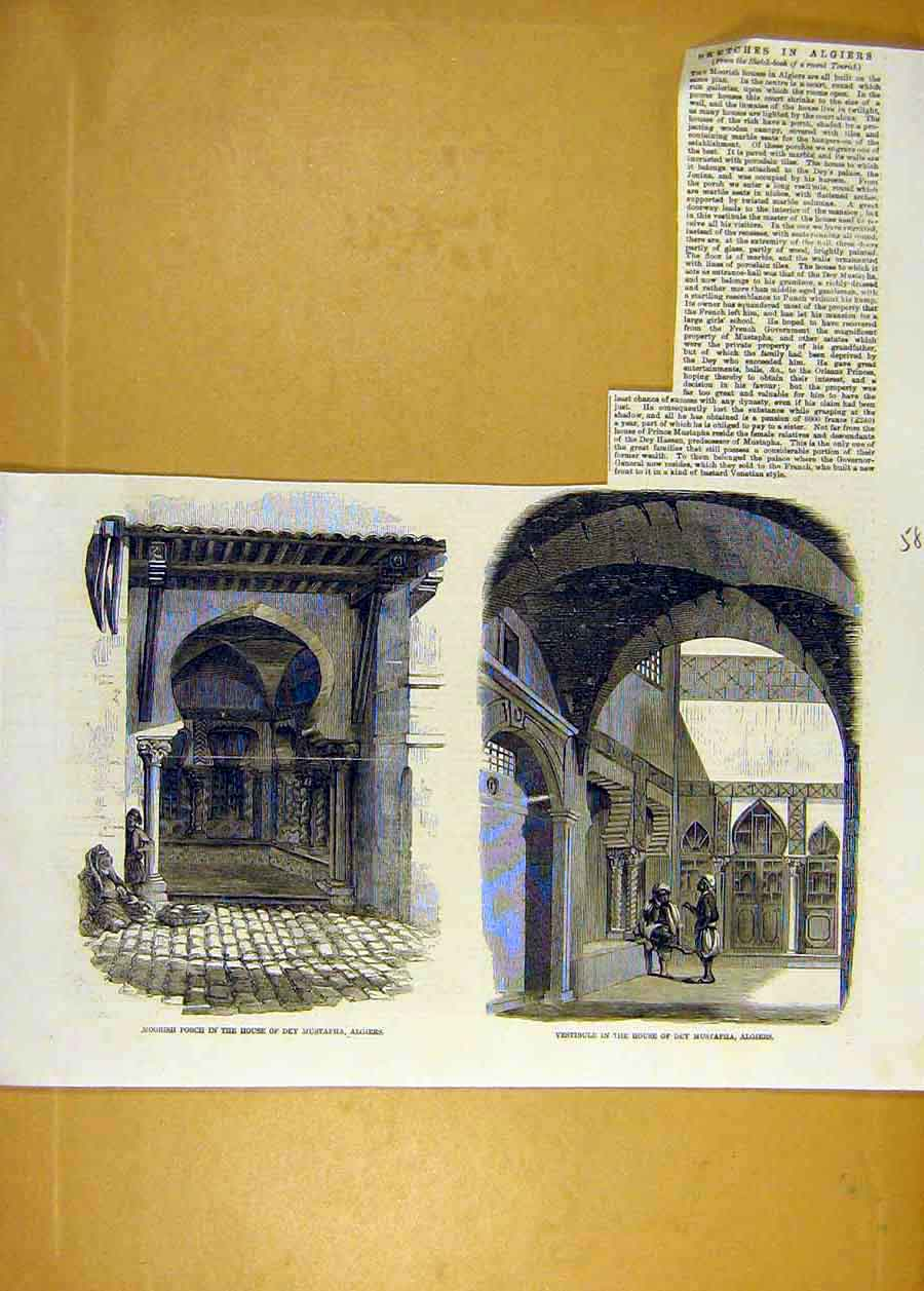 Print Sketches Algiers Moorish House Mustapha Building 1858 84Lccc0 Old Original