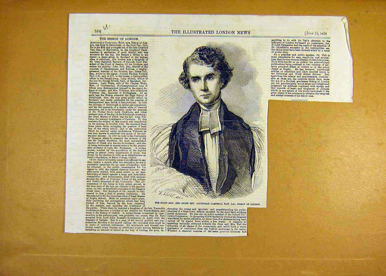 Print Portrait Tait Bishop London 1858 84Uccc0 Old Original