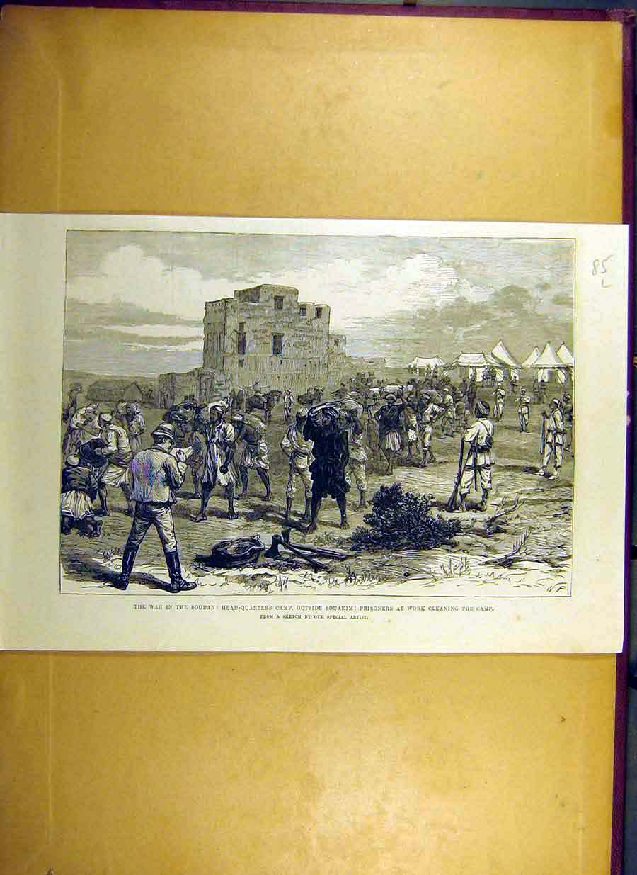 Print 1884 War Soudan Souakim Head-Quarter Camp Prisoners 85Lccc0 Old Original