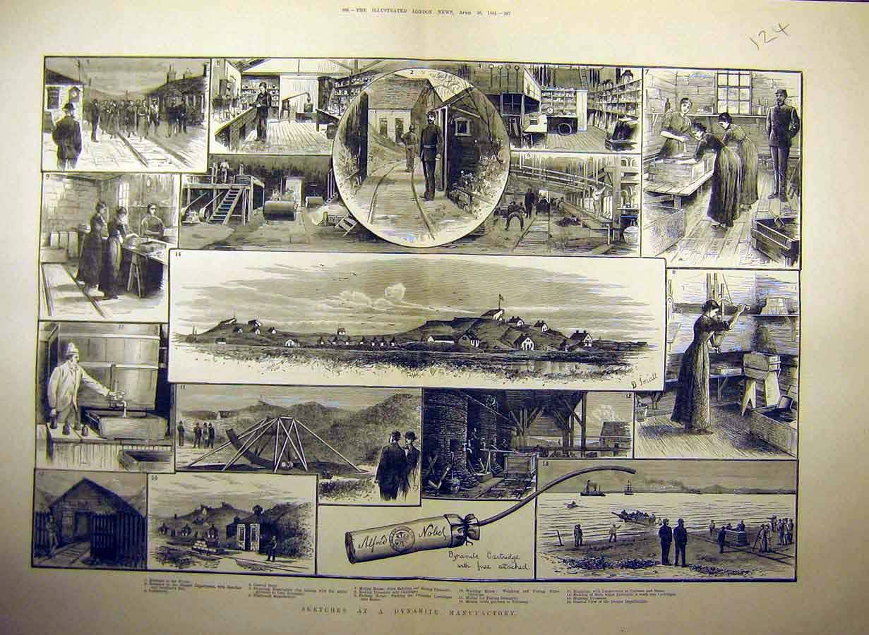 Print 1884 Sketches Dynamite Factory Laboratory 24Tccc0 Old Original
