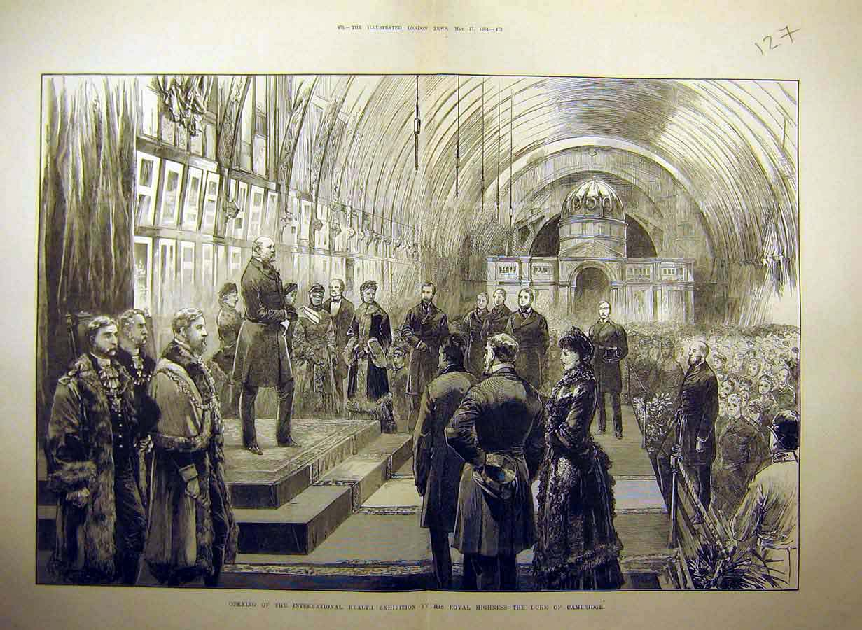 Print 1884 Health Exhibition Royal Visit Duke Cambridge 27Tccc0 Old Original