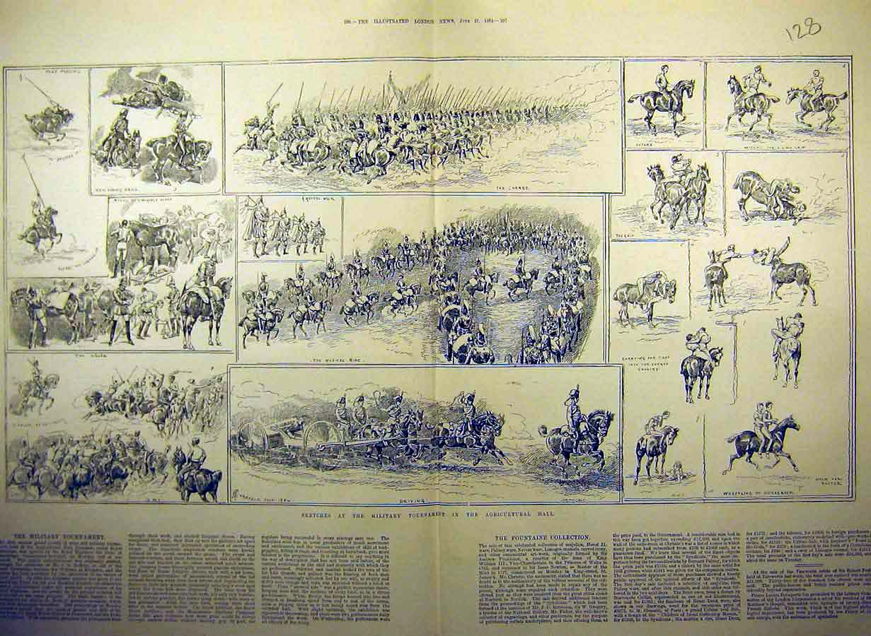 Print 1884 Military Tournament Sketch Agricultural Islington 28Tccc0 Old Original