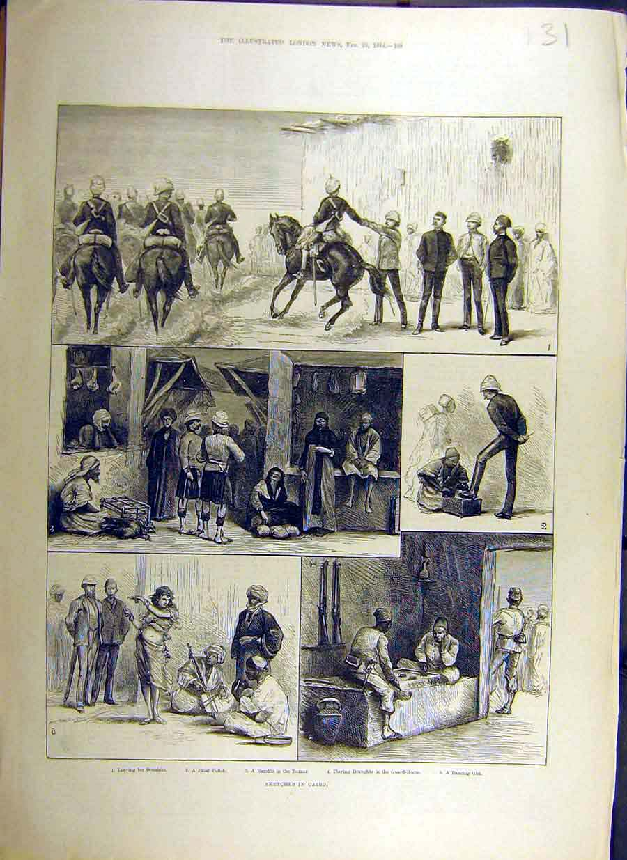 Print 1884 Sketches Cairo Egypt Africa Draughts Dancing Girl 31Ccc0 Old Original