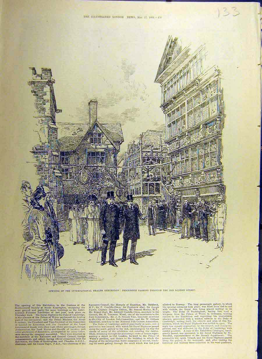 Print 1884 International Health Exhibition Old-London Street 33Ccc0 Old Original