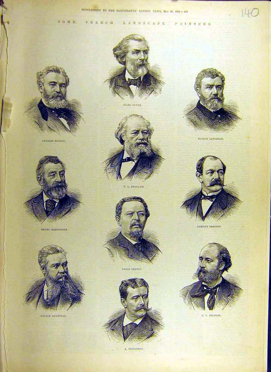 Print 1884 French Landscape Painters Portrait Dupre Breton 40Ccc0 Old Original