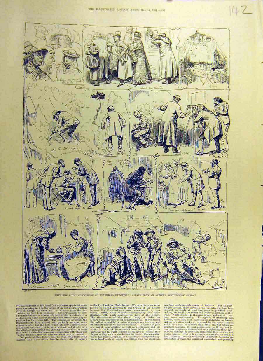 Print 1884 Royal Commision Technical Education Sketches 42Ccc0 Old Original