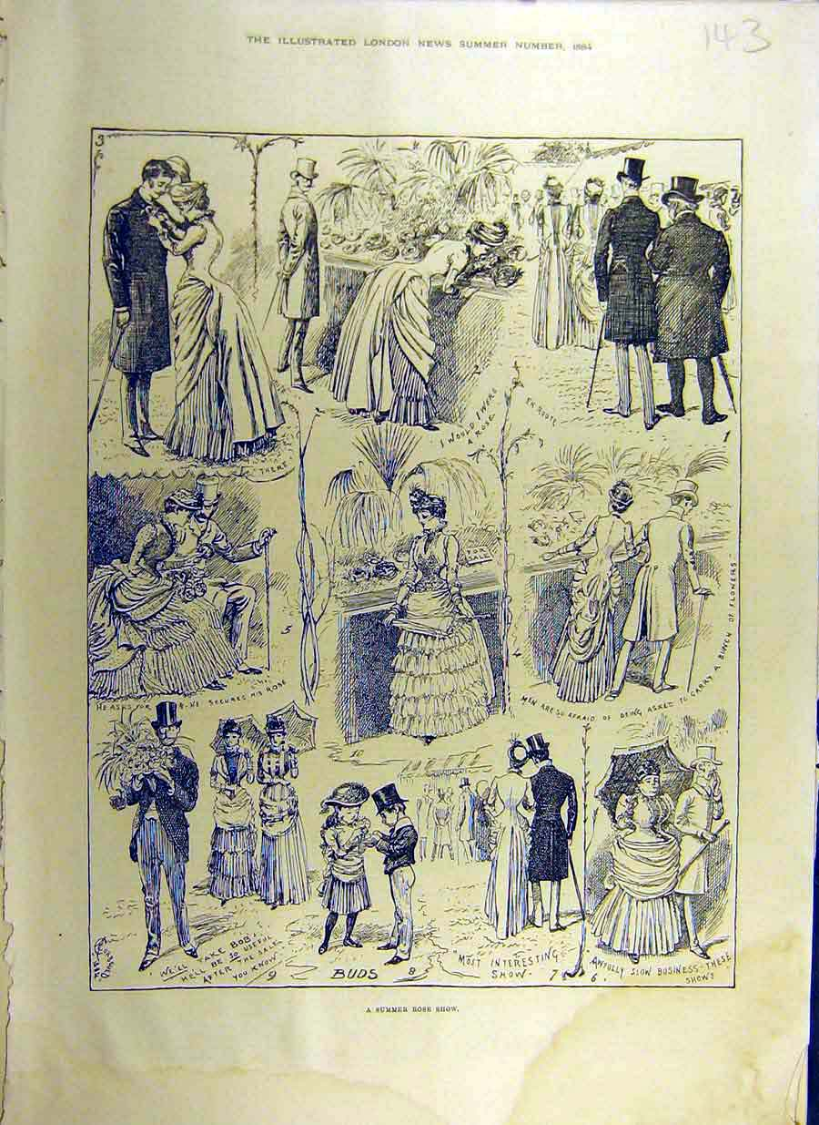 Print 1884 Summer Rose Show Sketches Flower People 43Ccc0 Old Original