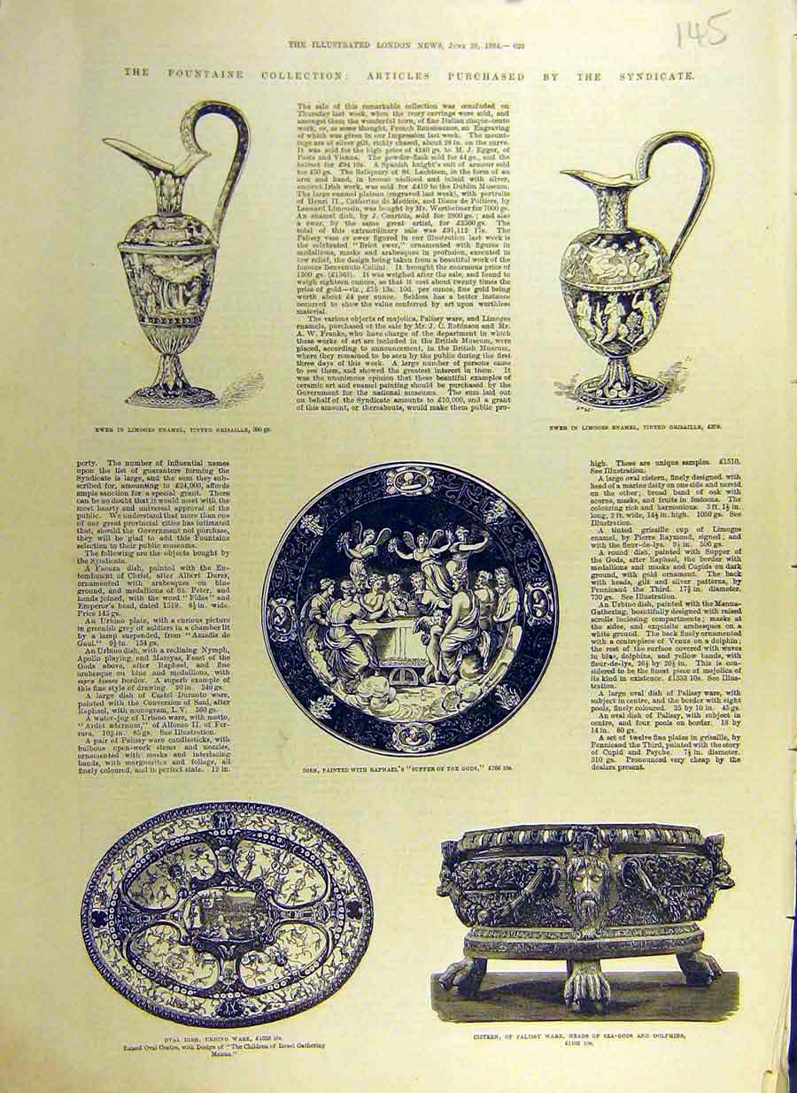 Print 1884 Fountaine Collection Ewer Limoges Dish Palissy 45Ccc0 Old Original