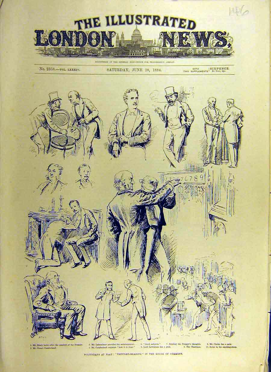 Print 1884 Politicians Thought-Reading House Commons Sketches 46Ccc0 Old Original