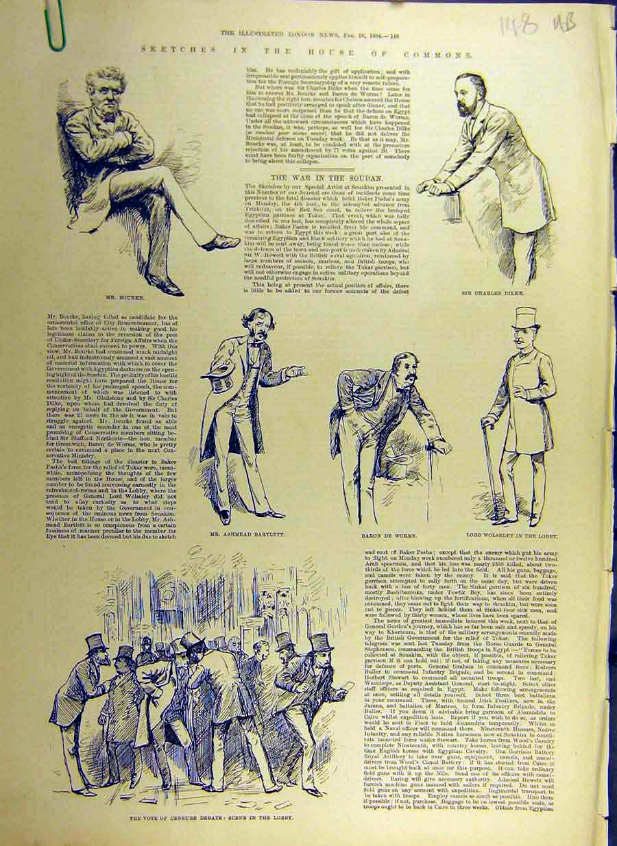 Print 1884 Sketches House Commons Bourke Censure-Debate 48Accc0 Old Original