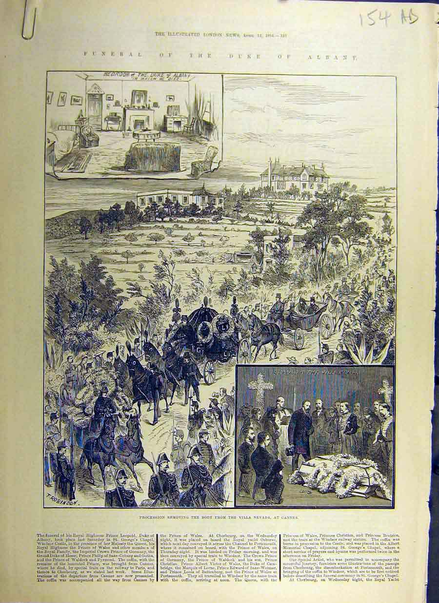 Print 1884 Duke Albany Funeral Procession Cannes Windsor 54Accc0 Old Original