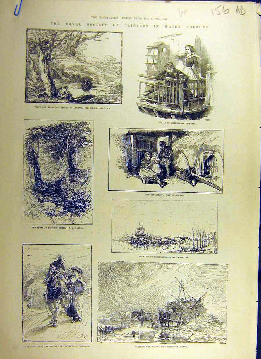 Print 1884 Royal Society Painters Fine Art Water-Colours 56Accc0 Old Original