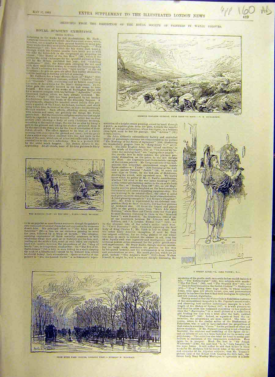 Print 1884 Royal Society Exhibition Water-Colours 60Accc0 Old Original