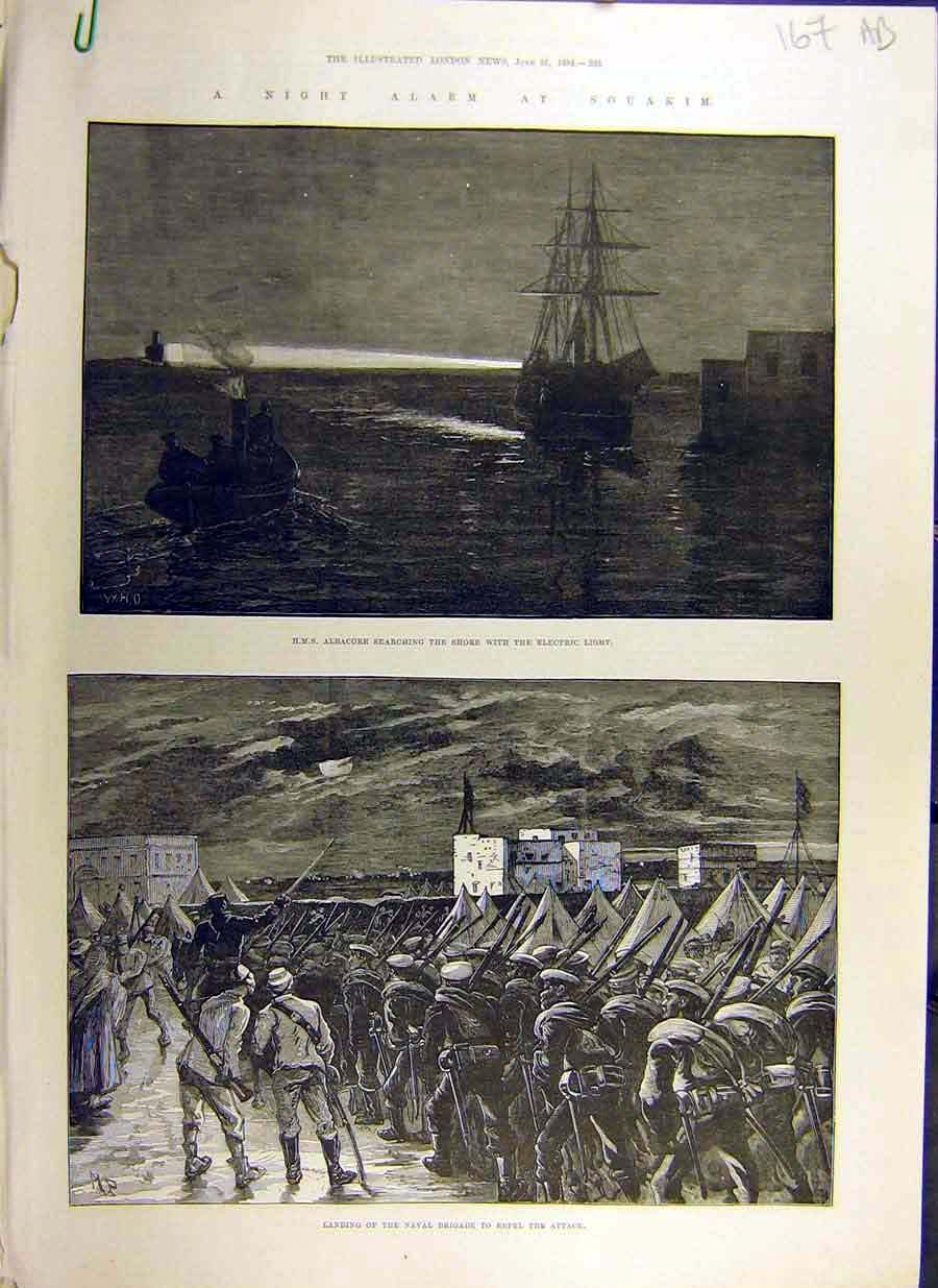 Print 1884 Souakim Night-Alarm Hms Albacore Shendy Chenery 67Accc0 Old Original