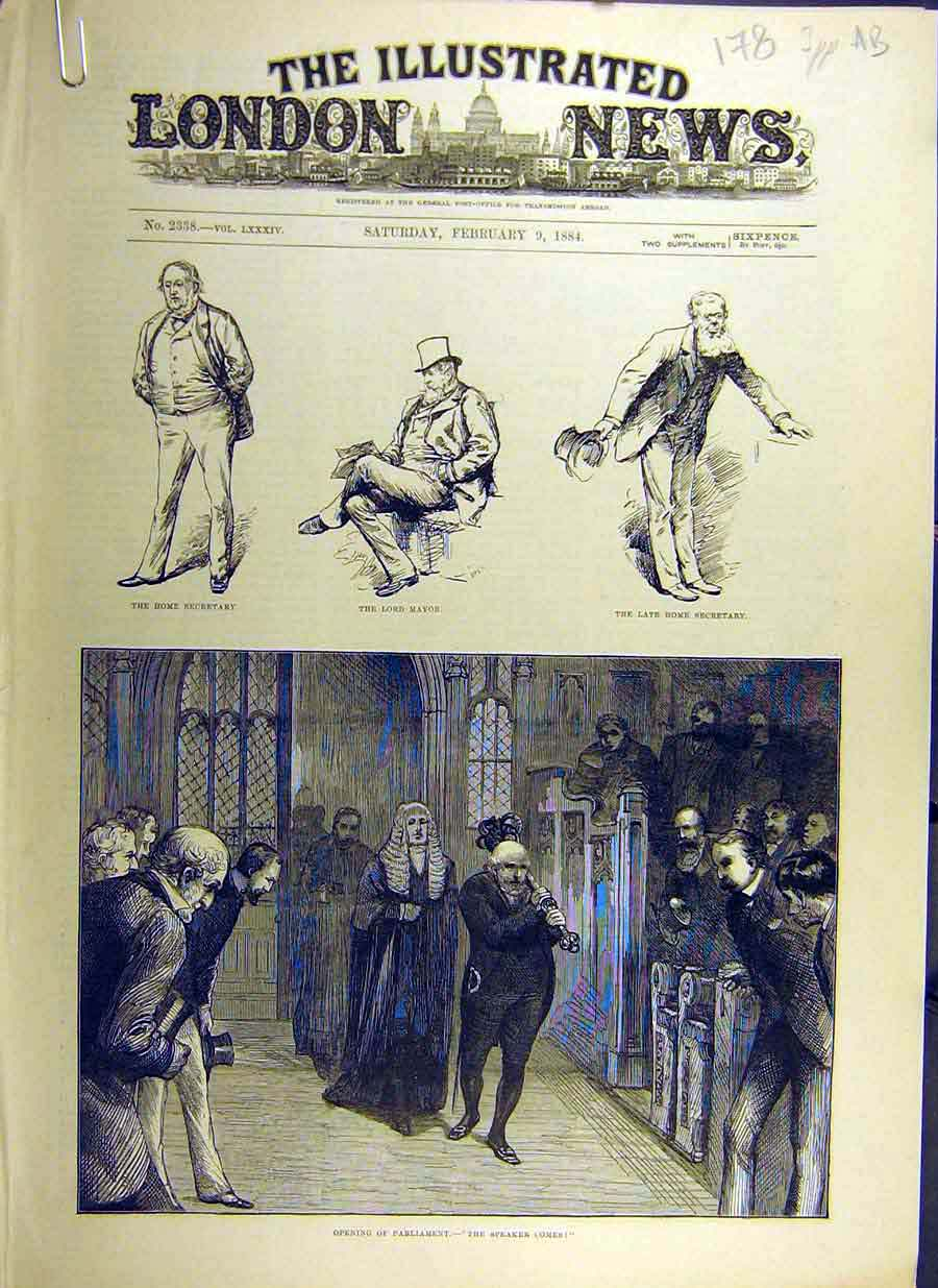 Print 1884 Parliament Mayor Speaker Secretary Prime-Minister 78Accc0 Old Original