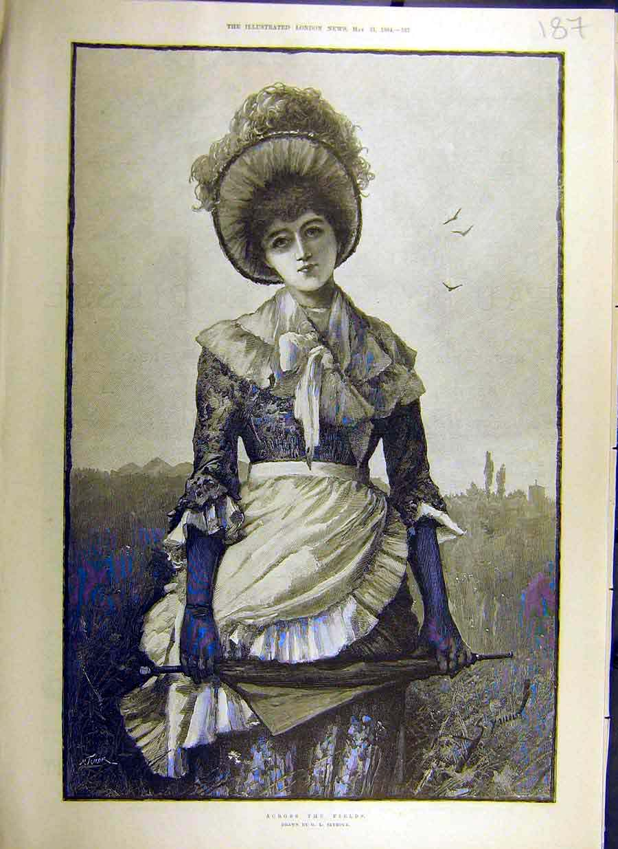 Print 1884 Across-The-Fields Seymour Sketch Country-Lass Lady 87Ccc0 Old Original