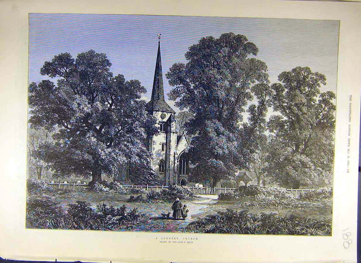 Print 1884 Country-Church Read Fine Art Building 88Ccc0 Old Original