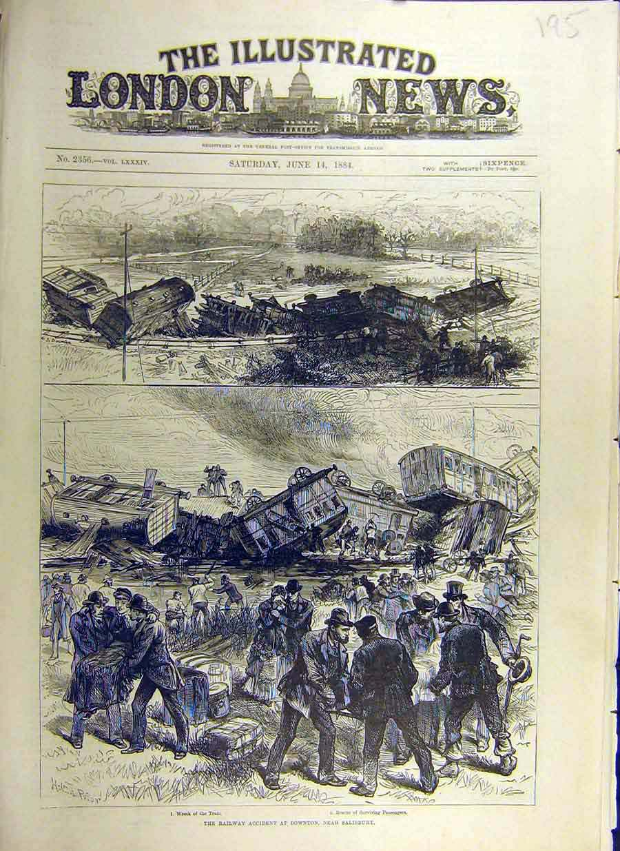 Print 1884 Railway Accident Downtown Salisbury Sketches 95Ccc0 Old Original