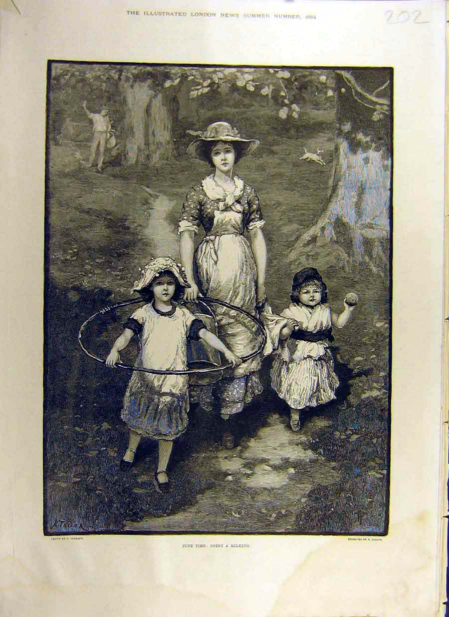 Print 1884 June-Time Going-Milking Art Lady Children 02Ccc0 Old Original