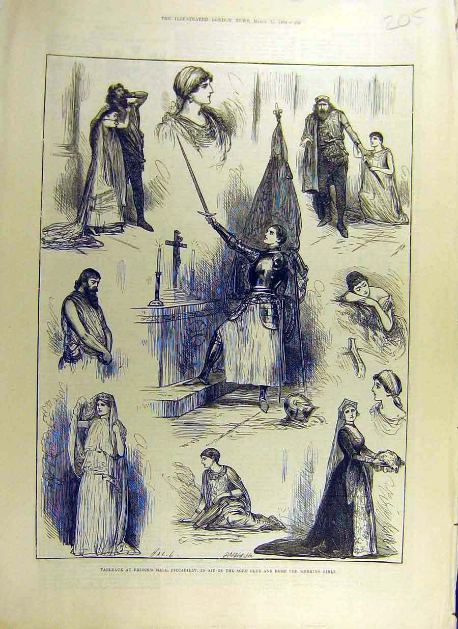 Print 1884 Tableaux Prince'S Piccadilly Soho Working Girls 05Ccc0 Old Original