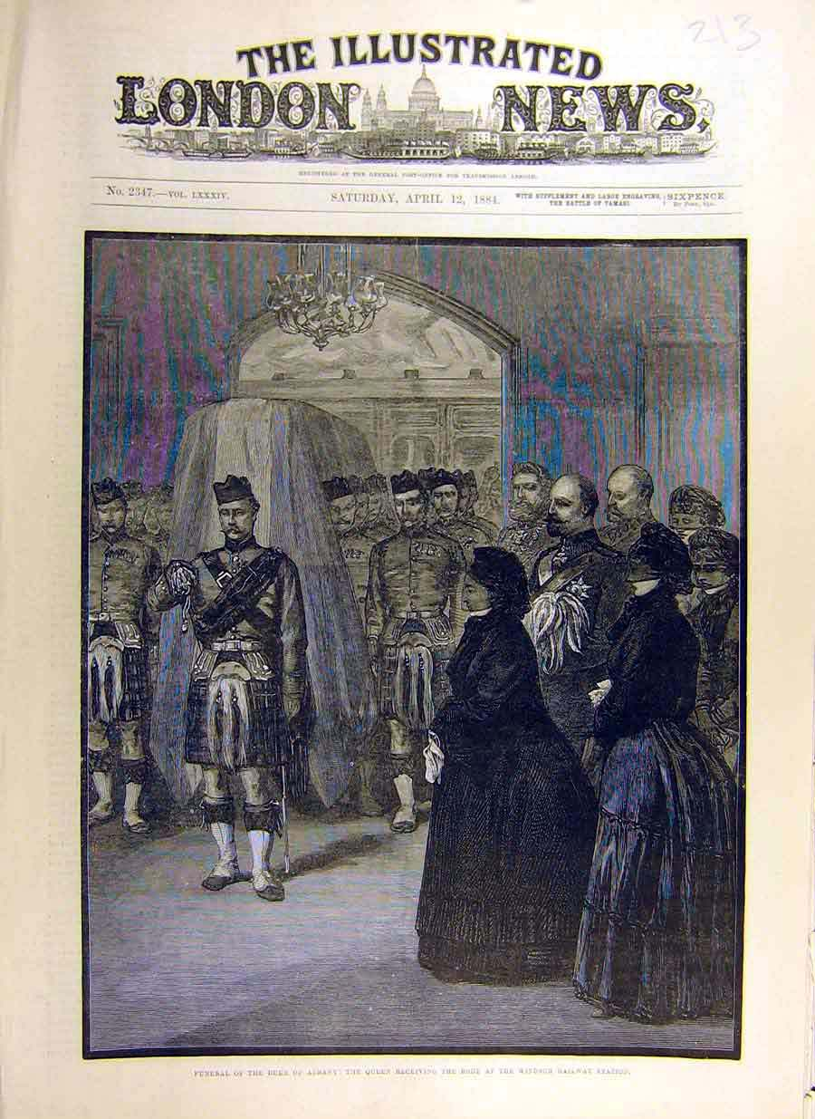 Print 1884 Funeral Duke Albany Queen Windsor Station Body 13Ccc0 Old Original