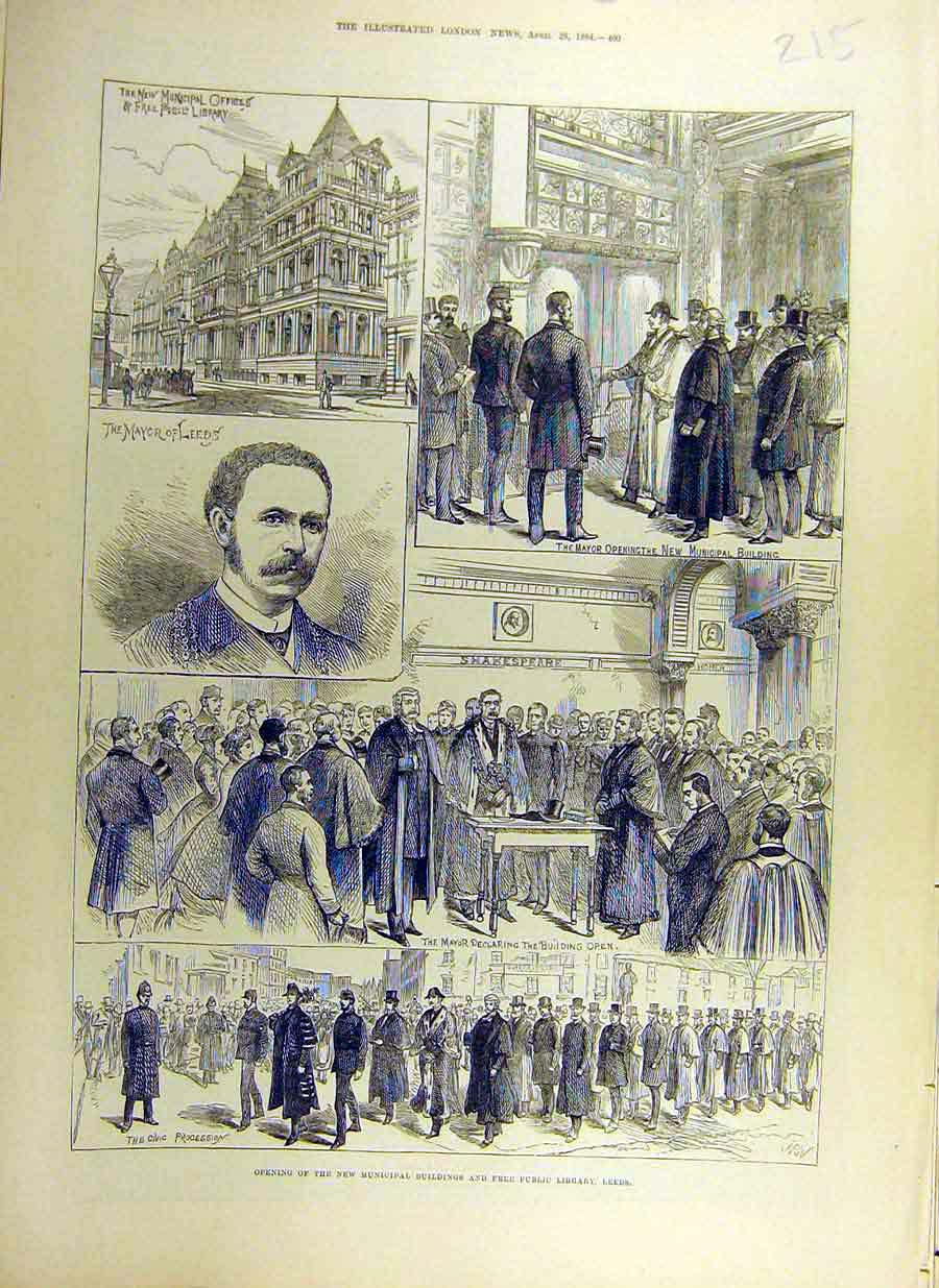 Print 1884 Municipal Buildings Free-Public Library Leeds 15Ccc0 Old Original