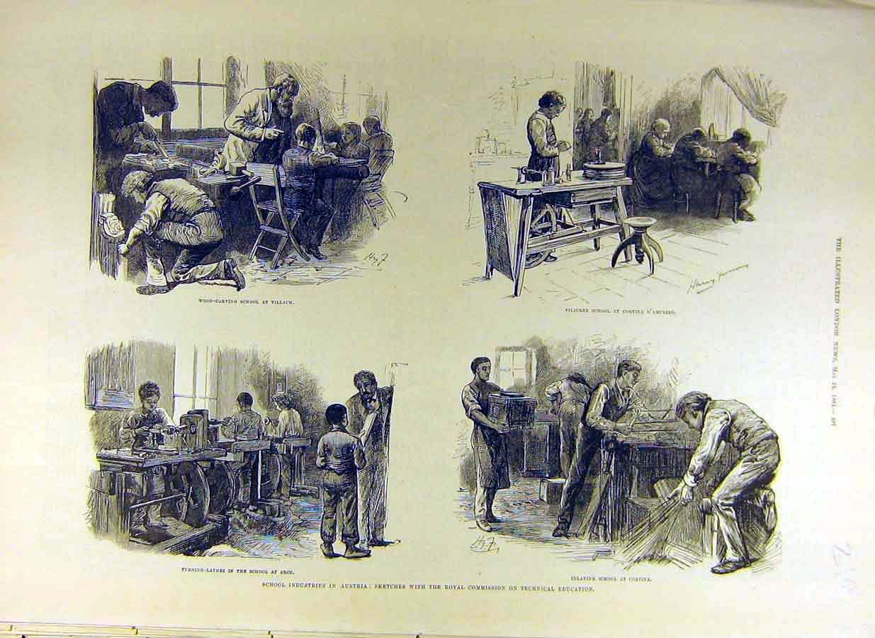 Print 1884 School Industry Austria Sketches Royal Technical 19Ccc0 Old Original